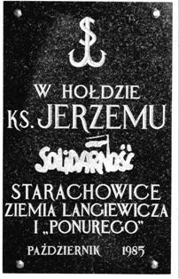 Tablica poświęcona ksiedzu Jerzemu Popiełuszce wykonana w Starachowicach