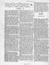 Prawdopodobnie ten numer Robotnika kolportowany był w dniu 23lipca 1980 roku w wydziale S4 FSC